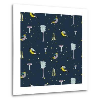 Dark Blue Forest Seamless Pattern with Birds. Trees and Mushrooms Night Forest Background.- YoPixArt-Metal Print