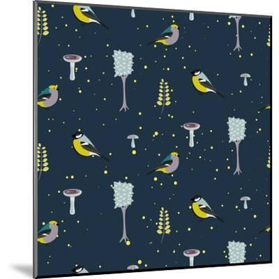 Dark Blue Forest Seamless Pattern with Birds. Trees and Mushrooms Night Forest Background.- YoPixArt-Mounted Art Print