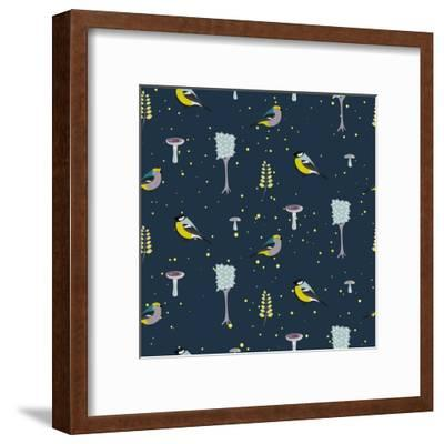 Dark Blue Forest Seamless Pattern with Birds. Trees and Mushrooms Night Forest Background.- YoPixArt-Framed Art Print