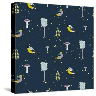 Dark Blue Forest Seamless Pattern with Birds. Trees and Mushrooms Night Forest Background.- YoPixArt-Stretched Canvas Print