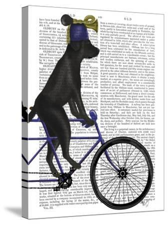 Black Labrador on Bicycle-Fab Funky-Stretched Canvas Print