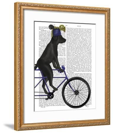 Black Labrador on Bicycle-Fab Funky-Framed Art Print