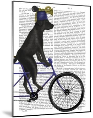 Black Labrador on Bicycle-Fab Funky-Mounted Art Print