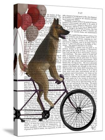 German Shepherd on Bicycle-Fab Funky-Stretched Canvas Print