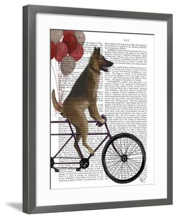 German Shepherd on Bicycle-Fab Funky-Framed Art Print