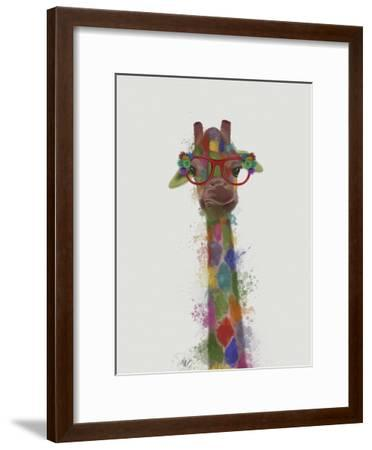 Rainbow Splash Giraffe 3-Fab Funky-Framed Art Print