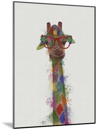 Rainbow Splash Giraffe 3-Fab Funky-Mounted Art Print
