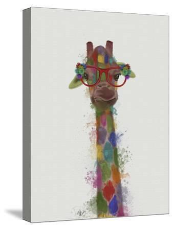 Rainbow Splash Giraffe 3-Fab Funky-Stretched Canvas Print