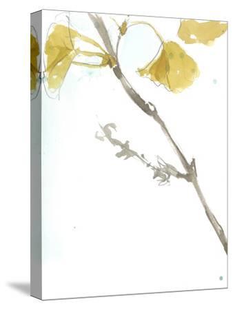 Ginkgo on Dusty Teal VI-Jennifer Goldberger-Stretched Canvas Print