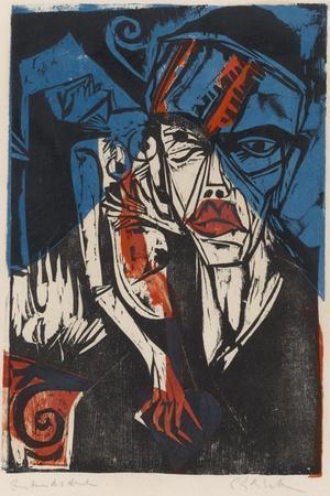 Illustration for 'Peter Schlemihl' by Adalbert Von Chamisso, 1915-Ernst Ludwig Kirchner-Stretched Canvas Print