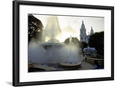 Fountains And The Ponce Cathedral-George Oze-Framed Photographic Print