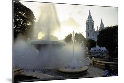 Fountains And The Ponce Cathedral-George Oze-Mounted Photographic Print