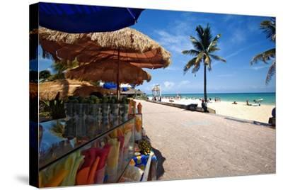 Fruit Stands on Playa Del Carmen, Mexico-George Oze-Stretched Canvas Print