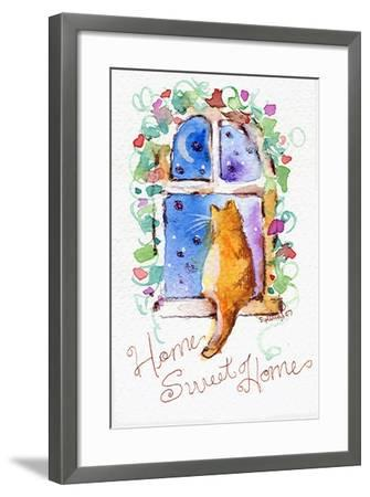 Home Sweet Home Cat in Window-sylvia pimental-Framed Art Print