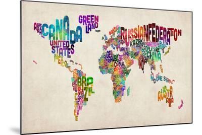 Typographic Text World Map-Michael Tompsett-Mounted Art Print