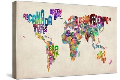 Typographic Text World Map-Michael Tompsett-Stretched Canvas Print