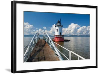 Tarrytown Lighthouse on the Hudson River-George Oze-Framed Photographic Print