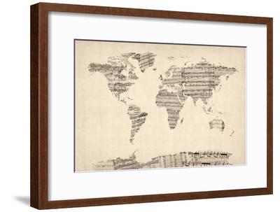 Map of the World Map from Old Sheet Music-Michael Tompsett-Framed Art Print