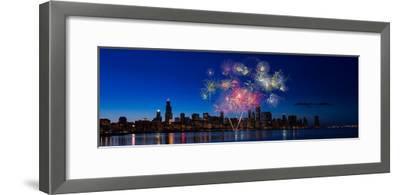 Chicago Lakefront Fireworks-Steve Gadomski-Framed Photographic Print