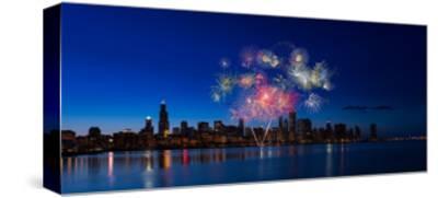 Chicago Lakefront Fireworks-Steve Gadomski-Stretched Canvas Print