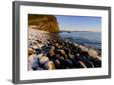 Rocky beach in winter with covering of snow-Charles Bowman-Framed Photographic Print