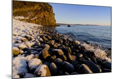 Rocky beach in winter with covering of snow-Charles Bowman-Mounted Photographic Print
