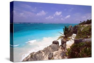 Rocky Beach Mayan Riviera Tulum Mexico-George Oze-Stretched Canvas Print