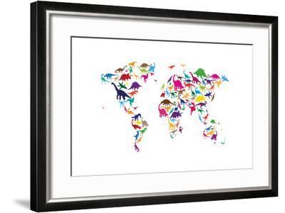 Dinosaur Map of the World Map-Michael Tompsett-Framed Art Print