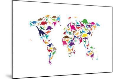 Dinosaur Map of the World Map-Michael Tompsett-Mounted Art Print