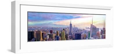 Wide Panorama of Manhattan w New Jersey a Brooklyn-Markus Bleichner-Framed Art Print