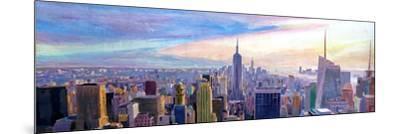 Wide Panorama of Manhattan w New Jersey a Brooklyn-Markus Bleichner-Mounted Art Print