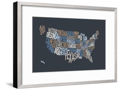 United States Text Map-Michael Tompsett-Framed Art Print