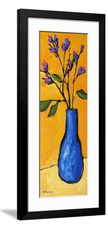 Blue Vase On Yellow-Patty Baker-Framed Art Print