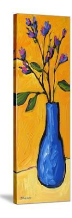 Blue Vase On Yellow-Patty Baker-Stretched Canvas Print
