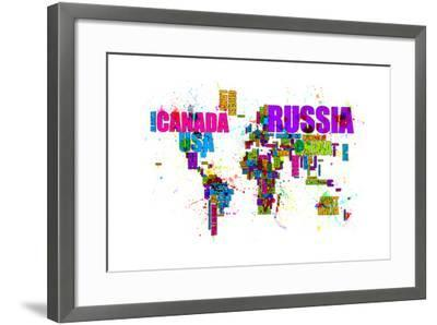 Paint Splashes Text Map of the World-Michael Tompsett-Framed Art Print