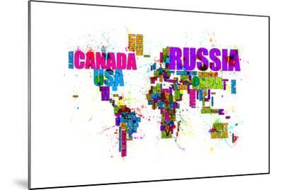 Paint Splashes Text Map of the World-Michael Tompsett-Mounted Art Print