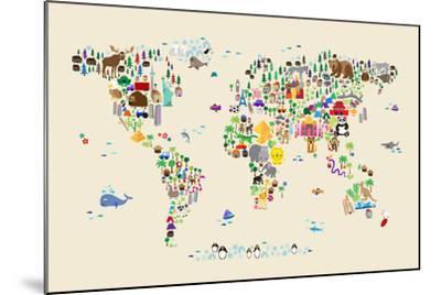 Animal Map of the World for children and kids-Michael Tompsett-Mounted Art Print