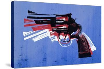 Magnum Revolver on Blue-Michael Tompsett-Stretched Canvas Print