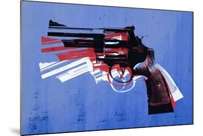 Magnum Revolver on Blue-Michael Tompsett-Mounted Art Print