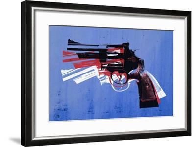Magnum Revolver on Blue-Michael Tompsett-Framed Art Print