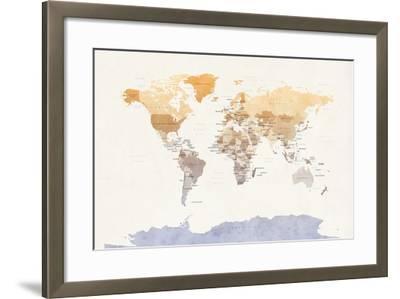 Watercolour Political Map of the World-Michael Tompsett-Framed Art Print