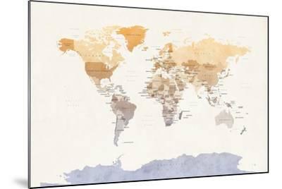 Watercolour Political Map of the World-Michael Tompsett-Mounted Art Print