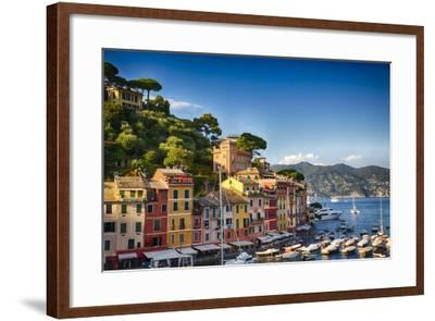 Colorful Harbor Houses in Portofino, Liguria, Italy-George Oze-Framed Photographic Print