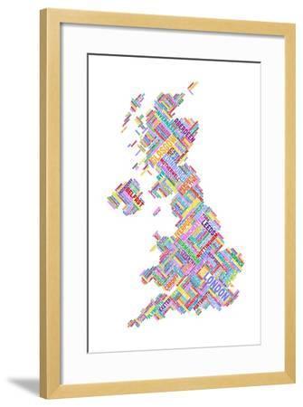 Great Britain United Kingdom City Text Map-Michael Tompsett-Framed Art Print