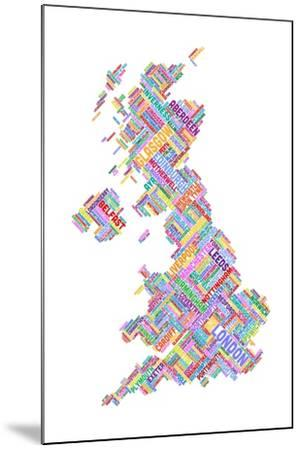 Great Britain United Kingdom City Text Map-Michael Tompsett-Mounted Art Print