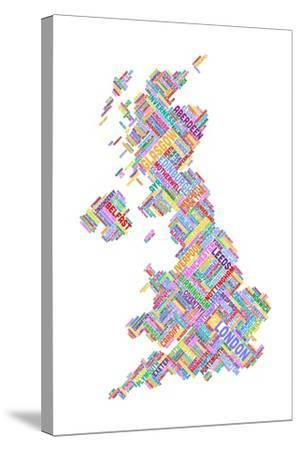 Great Britain United Kingdom City Text Map-Michael Tompsett-Stretched Canvas Print