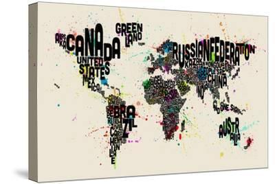 Paint Splashes Text Map of the World-Michael Tompsett-Stretched Canvas Print