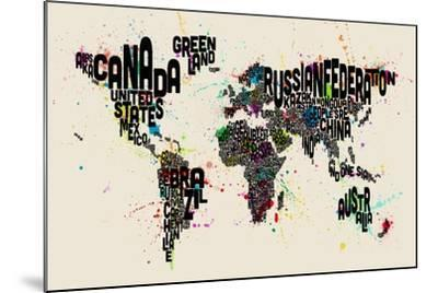 Paint Splashes Text Map of the World-Michael Tompsett-Mounted Art Print