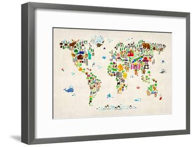 Animal Map of the World-Michael Tompsett-Framed Art Print