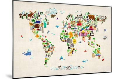 Animal Map of the World-Michael Tompsett-Mounted Art Print